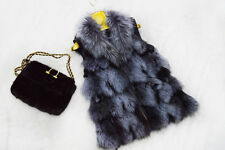 Nature Color Real Silver Fox Fur Vest Waistcoat Coat Jacket Sleeveless Gilet