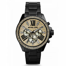 Michael Kors MK5961 Wren Crystal Pave Dial Chronograph Black Ladies Wrist Watch