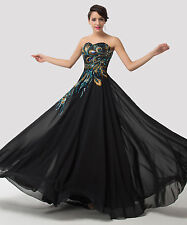 Graduation Homecoming Party Dress Long Peacock Evening Cocktail Gown Prom Dress