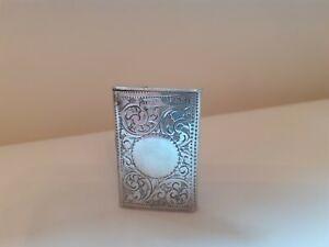 Antique solid silver vesta case 1902
