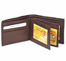 Genuine Leather Mens Bifold Wallet 2 ID's multi Card Double Center Flap Windows