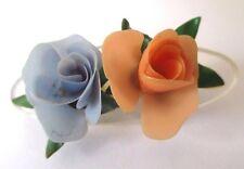 broche ancienne bijou vintage fleur celluloïd en relief de couleur pastel 586