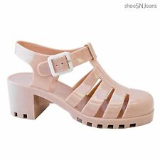New Women Summer Retro Buckle Slingback Jelly Rubber Sandals Wedge Heel Shoes