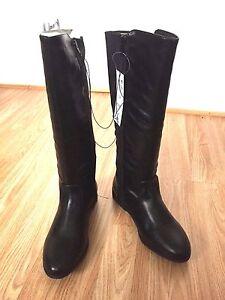 Women Flat Low Heel Black Knee High Riding Biker Winter Zip Up Buckle Boot Size