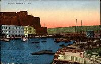 Napoli Neapel Italia Color AK ~1910 Porto Santa Lucia Partie am Hafen ungelaufen