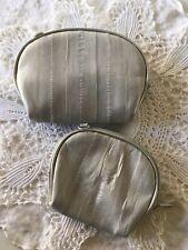 Set 2 Vintage Lee Sands Cosmetic Cases Eel Skin Silver Gray