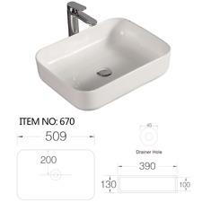 Lavabo appoggio bacinella rettangolare 50x39 bianco lucido