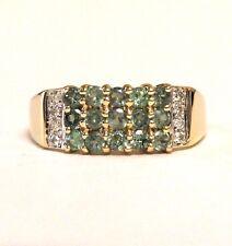14k yellow gold womens diamond .05ct SI3-I1 H tsavorite ring 4.5g estate vintage
