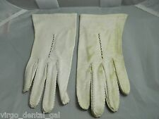 Vtg Bacmo Ivory White Colored Embroidered Leather Gloves Size 7