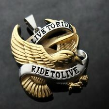 GOLD Live to Ride Eagle Spirit Pendant FREE NECKLACE for Harley Davidson Biker