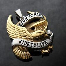 GOLD Live to Ride Eagle Spirit Pendant FREE NECKLACE for Harley Davidson Biker