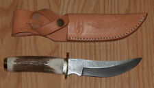 DAMASCUS STEEL UPSWEPT SKINNER BLADE  BOWIE with STAG HANDLES