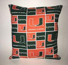Miami Pillow University Of Miami Hurricanes  Pillow HANDMADE In USA NCAA Pillow