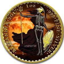 2017 1 Oz Silver £2 ARMAGEDDON NUKE SKELETAL BRITANNIA Coin, 24K Gold Gilded.