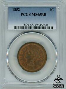 1852 United States Braided Hair Young Matron Liberty Head Large Cent PCGS MS65RB