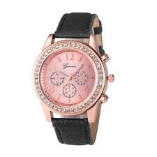 Ladies Fashion Geneva Rose Gold Quartz Rhinestone Case Black Band Wrist Watch.