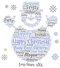 Personalised  Snowman Word Art Print -  Teacher Christmas Gift or ANY occasion