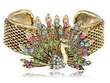 Golden Crystal Rhinestone Colorful Peacock Bird Vogue Bracelet Cuff