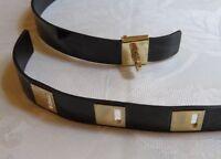 FERRAGAMO Women's Black Leather & Gold-Tone Belt Made in Italy