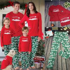 US Family Matching Christmas Pajamas Set Women Men Kid Santa Sleepwear Nightwear