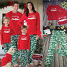 US Family Matching Christmas Pajamas Set Women Men Kid Santa Sleepwear Nightwear