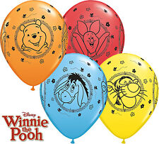 """Winnie The Pooh Party Supplies 10 X 11"""" Qualatex Assorted Latex Balloons"""