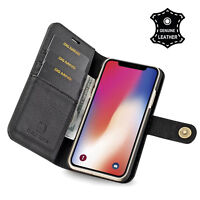 Luxury Genuine Real Leather Flip Case Wallet Cover For iphone X 6 6S 7 8 PLUS