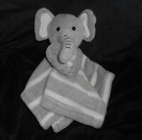 SL FASHIONS BABY GREY ELEPHANT STRIPE SECURITY BLANKET STUFFED ANIMAL PLUSH TOY