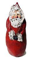 Vintage Plaster Wood Santa Claus Figure Hand Painted Decorated Folk Art SIGNED