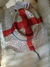 PACK OF 2 GLITTER COWBOY COWGIRL HAT ENGLAND ST GEORGE RUGBY FOOTBALL ACCESORY