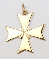 18k Yellow Gold Plain Maltese Cross Pendant