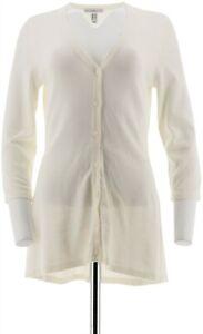 Isaac Mizrahi V-neck Peplum 3/4 Slv Button Front Cardigan Cream XS NEW A290990