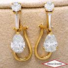 Estate GIA 3.09ct.Natural Pear Diamond Gold Omega Dangle Drop Earrings NR