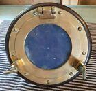 """Vintage Nautical Brass Porthole on Mahogany Wood Frame 7.5"""" for Shelf Made Italy"""