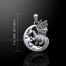 Sleeping Dragon Moon .925 Sterling Silver Pendant by Peter Stone