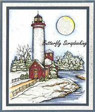 WINTER LIGHTHOUSE CHRISTMAS Wood Mounted Rubber Stamp NORTHWOODS P10140 New
