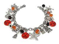 Halloween Charm Bracelet - Pumpkin Bracelet - Witch Jewelry