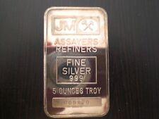 Johnson Matthey 5 oz Silver Bar Type 1 Rare Blank Back