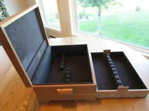 REED BARTON WOODEN FLATWARE STORAGE CHEST BOX CASE-QUALITY BUILT*+LOWER STOARGE*