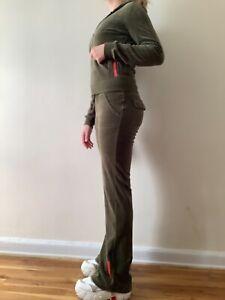 Vintage velvet velour olive green hooded zip pockets low rise track suite XS