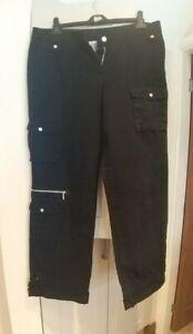 La Redoute Black Punk Emo Rock Cargo Trousers Size 16