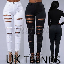 UK Womens Ripped Jeans Black White High Waisted Jeggings Trousers Knee Skinny
