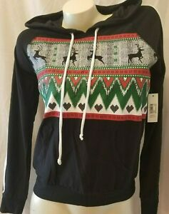 Christmas NOBO Varsity Stripe Holiday Pullover Hoodie Juniors Size S (3-5) NWT