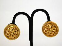 Vintage Carlisle Goldtone Metal Clip On Earrings Twisted Weave Gold Designer