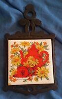 Vintage Trivet Hot Plate Cast Iron JAPAN Rustic Farmhouse Tea Pot Cup SAN JUAN