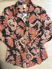 """Sundance Catalog """"Marsden"""" Button Front Paisley Shirt Women's Brand New"""