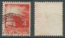 1945-48 ITALIA USATO DEMOCRATICA 4 LIRE FILIGRANA LETTERA - B8-2