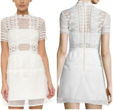 Self-Portrait Structured Teardrop Peplum Dress,Off-White ,Size XS, UK 6-8