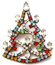 Christmas Tree Brooch Multi Color Rhinestones Holiday Pin Vintage Jewelry