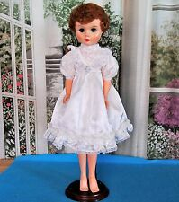 "Vintage White Satin Dress for 24"" Deluxe Reading Swivel waist Fashion Doll"